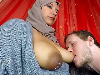 Arab milf breastfeeding her new husband